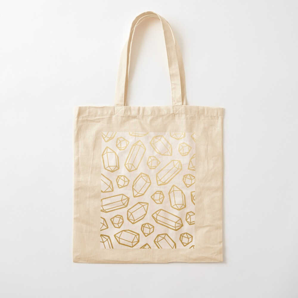 Gold and White Gemstone Pattern Cotton Tote Bag