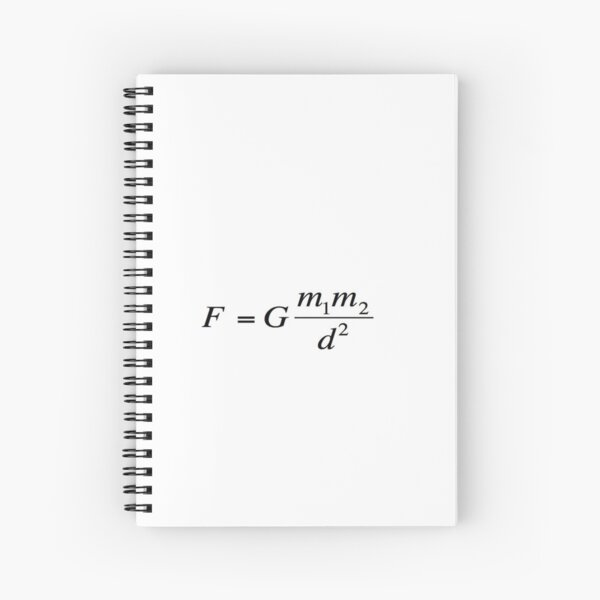 Newton's universal #law of #gravitation. #Gravity. What does it mean? #Calculates the force of gravity between two objects Spiral Notebook
