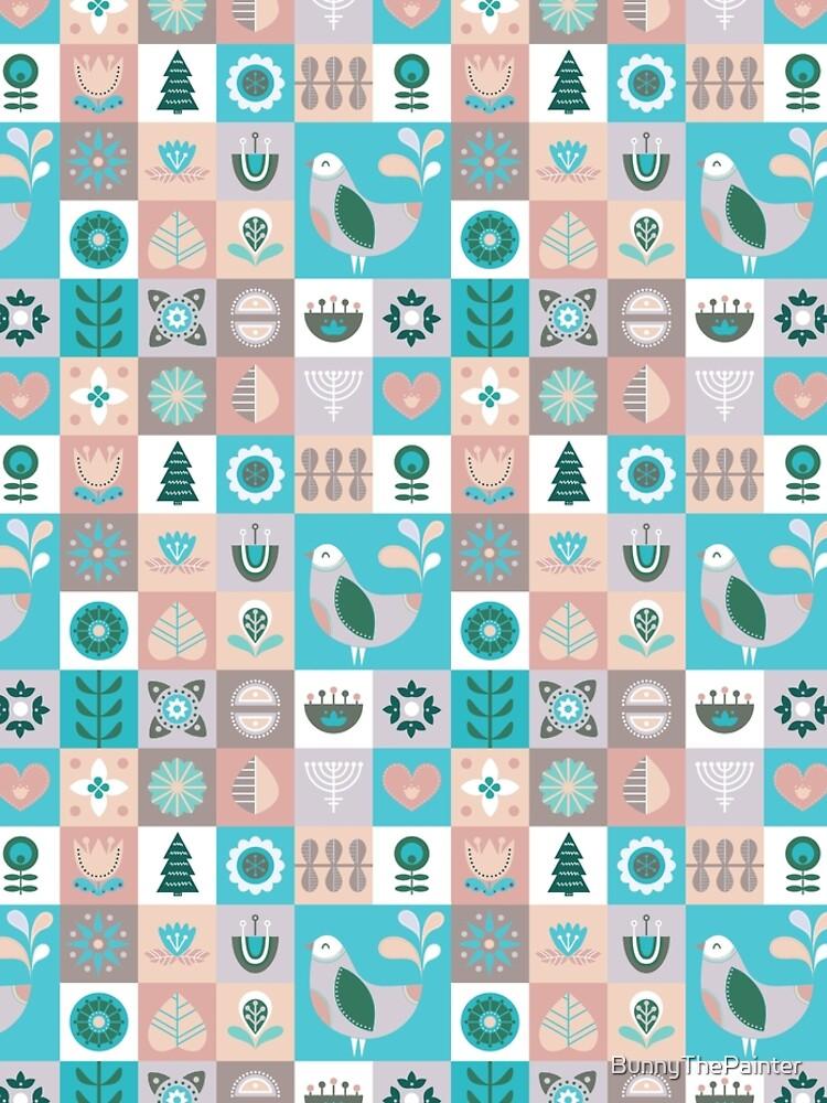 Scandinavian Soft Muted Midcentury Modern Birds And Flowers by BunnyThePainter