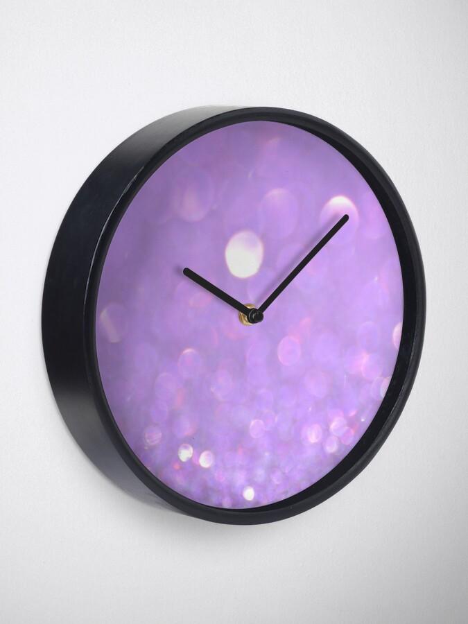 Alternate view of Purple Glitter Bokeh Clock