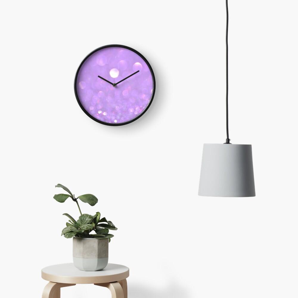 Purple Glitter Bokeh Clock