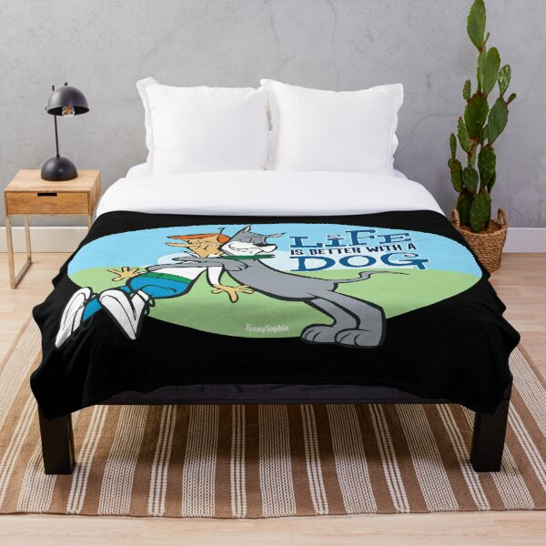 The Jetsons George and Astro - Life is better with a dog Throw Blanket