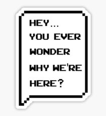 Hey, you ever wonder why we're here? Sticker