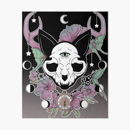 Twilight -- Skull Cat Art Board Print