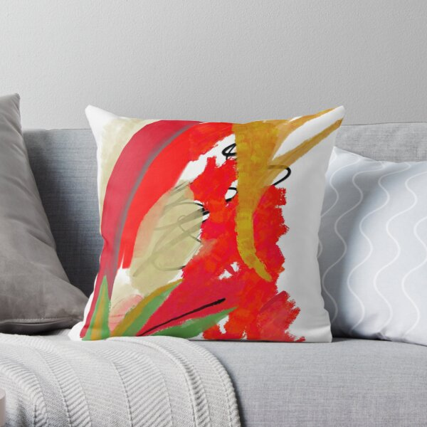 Autumn colors: Oil impressions green red and orange Throw Pillow