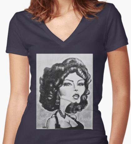 Ava Gardner  Women's Fitted V-Neck T-Shirt