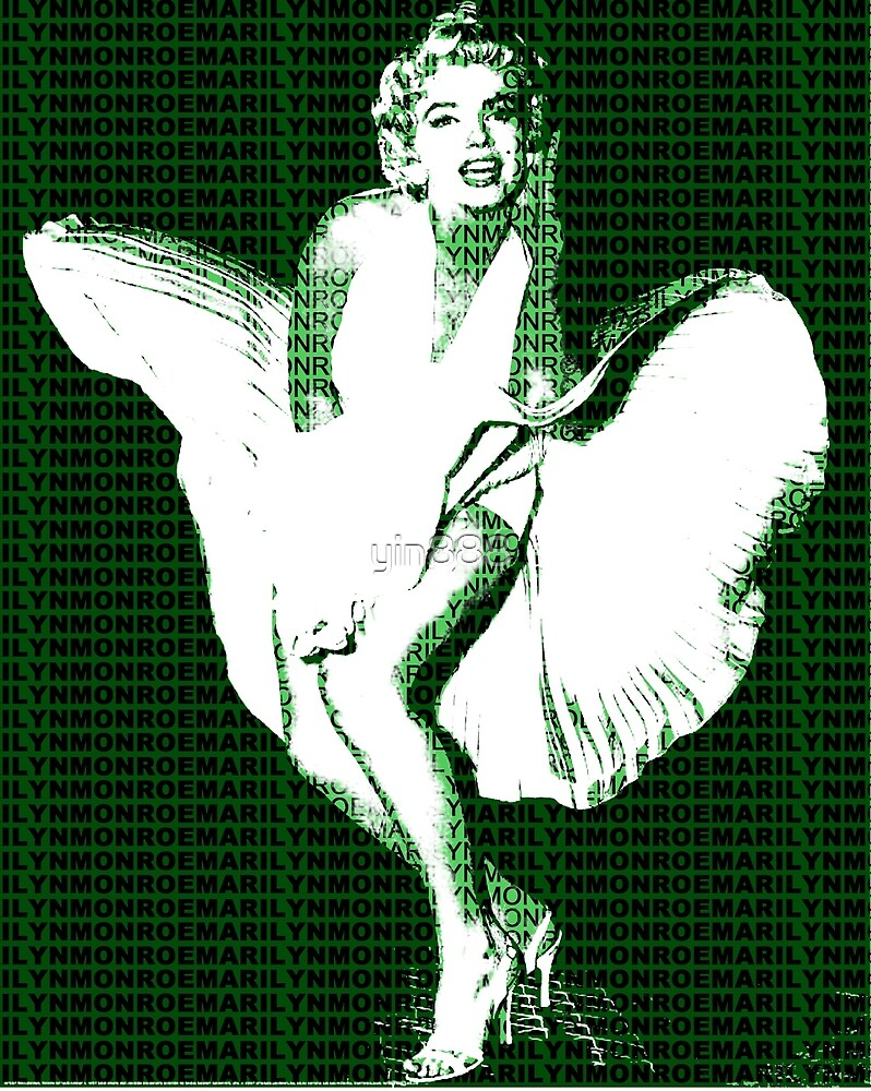 Marilyn Monroe Iconic White Dress Blowing Image Green  by yin888