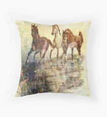 Horses.Vintage Card. Throw Pillow