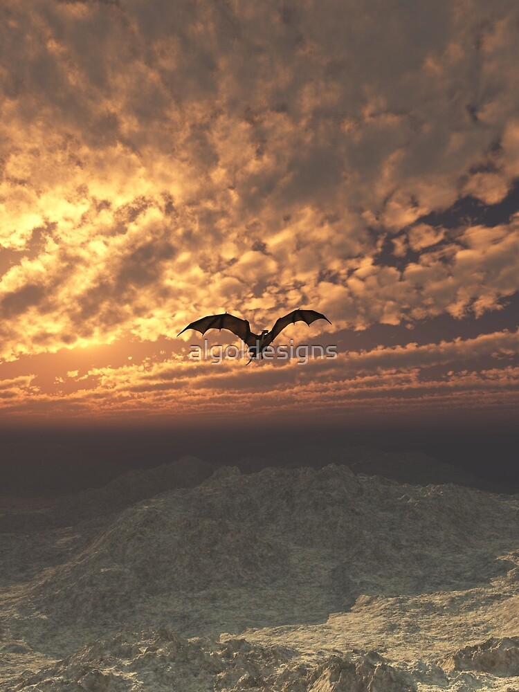 Dragon Flying at Sunset by algoldesigns