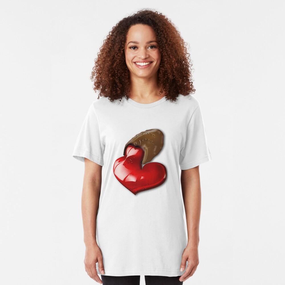 Chocolate - I Love You Slim Fit T-Shirt