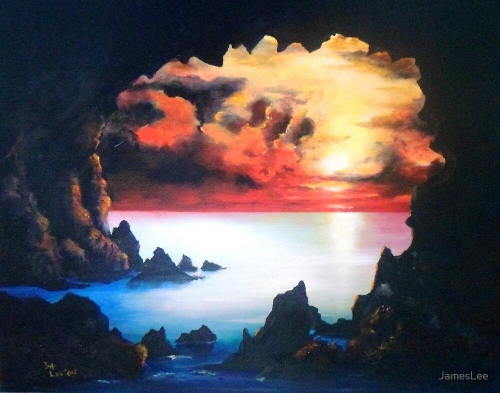 Sea Cave and Sunset; After the Storm by JamesLee