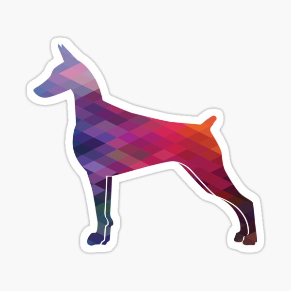 Doberman Pinscher Dog Breed Silhouette Geometric Pattern in Purple Sticker