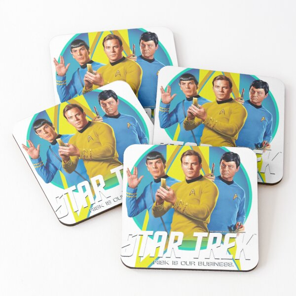 Star Trek Original Series Group Shot Retro Portrait Logo Coasters (Set of 4)