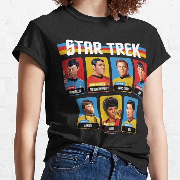 Panneaux de portraits multicolores rétro de la série originale Star Trek T-shirt classique