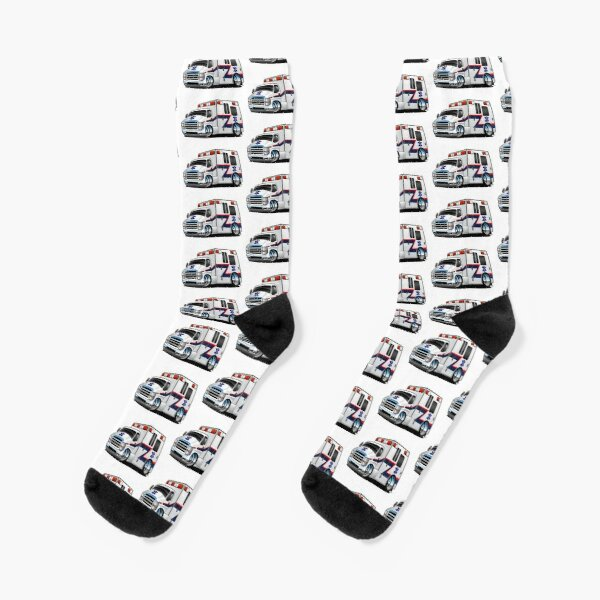 Paramedic EMT Ambulance Rescue Truck Cartoon Socks