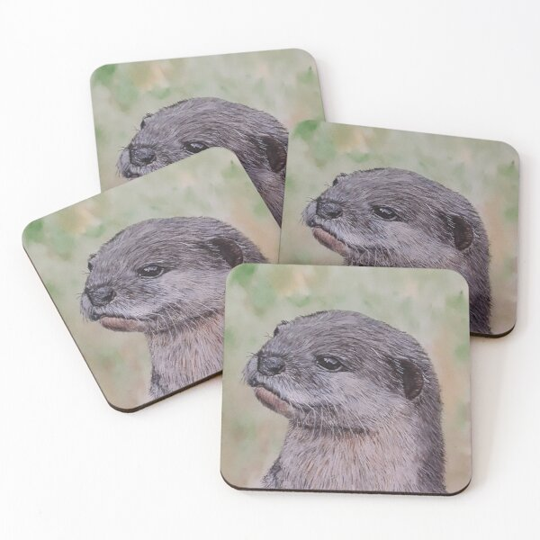 European Otter Coasters (Set of 4)