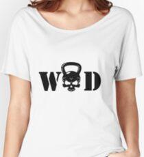 WOD Kettlebell Skull Black Women's Relaxed Fit T-Shirt