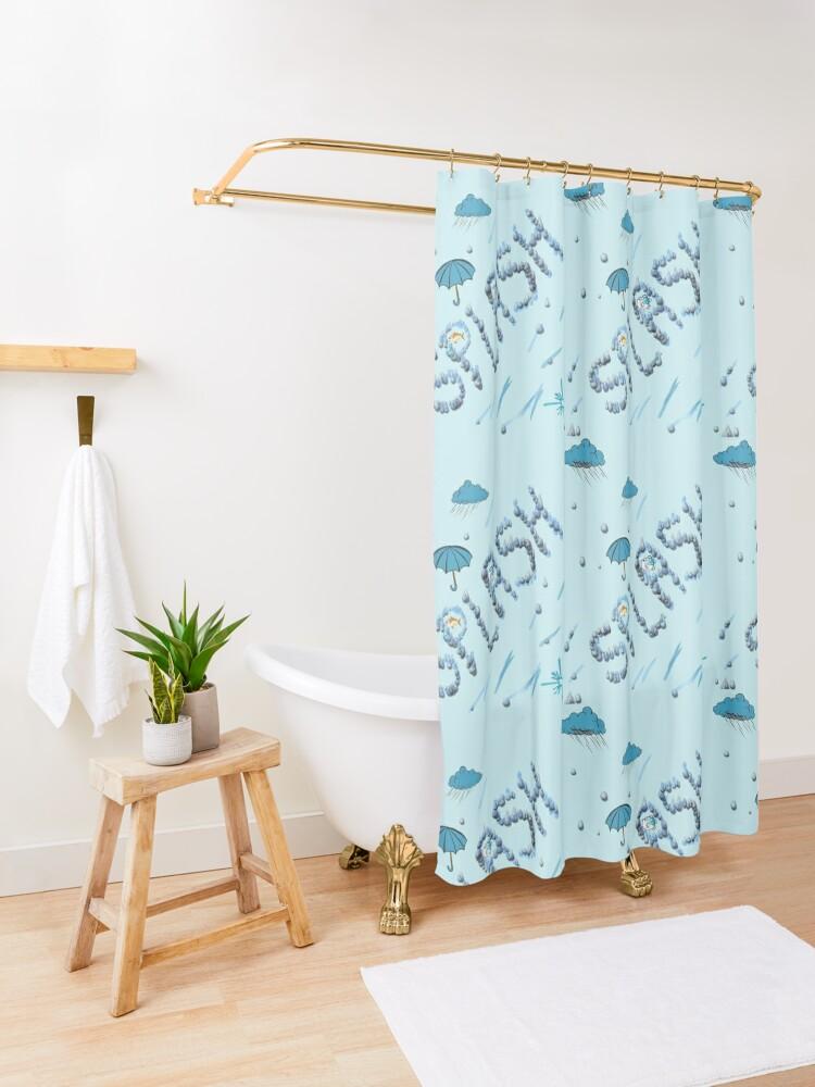 Alternate view of A Splash of Blue Shower Curtain
