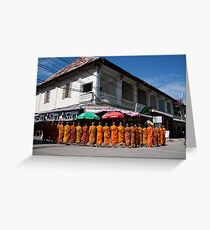 Monks collecting Alms  Greeting Card