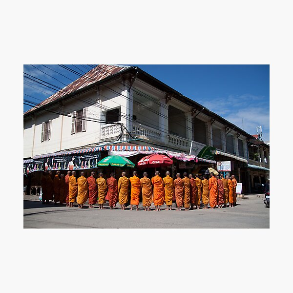 Monks collecting Alms  Photographic Print