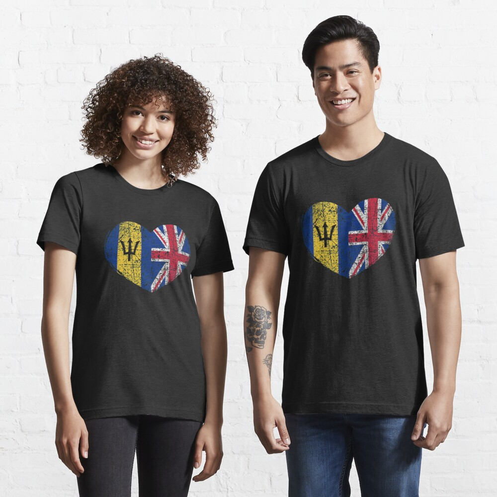 Barbados United Kingdom Heart - Dual Citizenship Essential T-Shirt