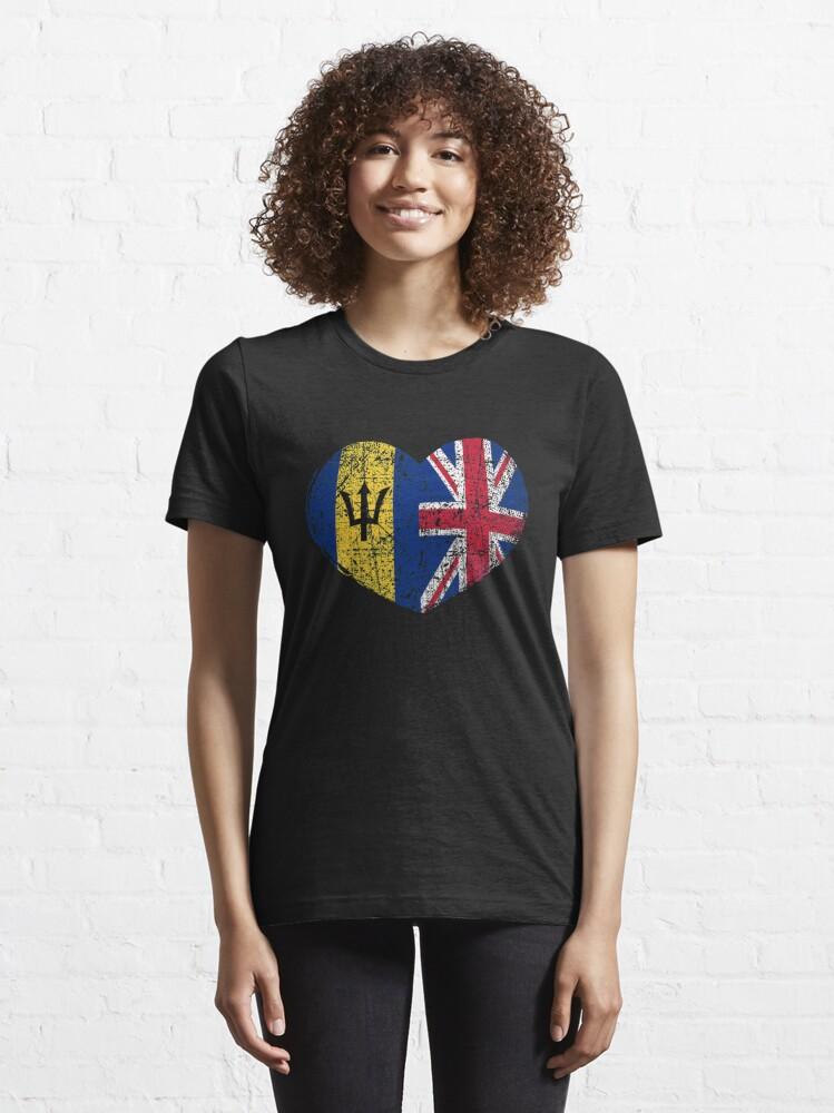 Alternate view of Barbados United Kingdom Heart - Dual Citizenship Essential T-Shirt