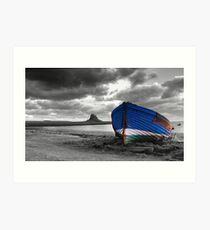 Holy Island with Boat b/w/c Art Print
