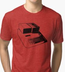 Vintage Retro Apple II Computer Stencil Tri-blend T-Shirt