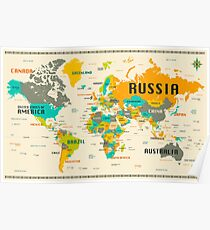 Colorful world map posters redbubble world map poster gumiabroncs Image collections