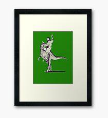 Jesus Riding Dinosaur Framed Print