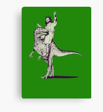 Jesus Riding Dinosaur Canvas Print