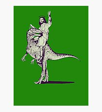 Jesus Riding Dinosaur Photographic Print