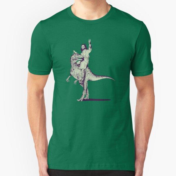 Jesus Riding Dinosaur Slim Fit T-Shirt