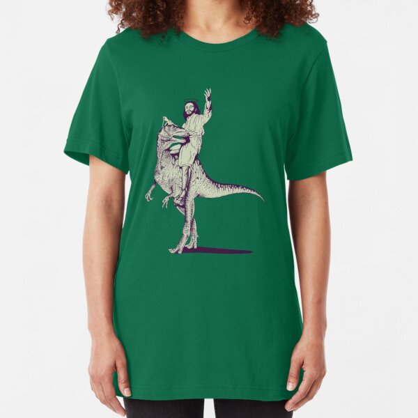 Jesus Riding Dinosaur Slim Fit T-Shirt