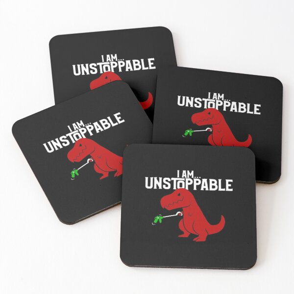 Cute & Funny I Am Unstoppable T-Rex Dinosaur Pun Coasters (Set of 4)