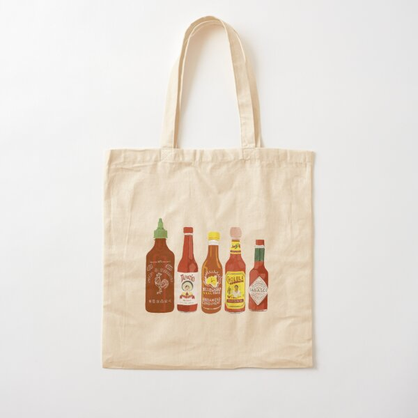 Spicy! Check out these hot sauces on black background Cotton Tote Bag