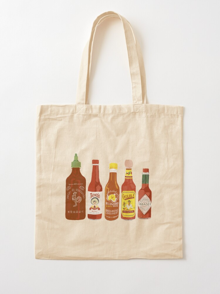 Alternate view of Spicy! Check out these hot sauces on black background Tote Bag