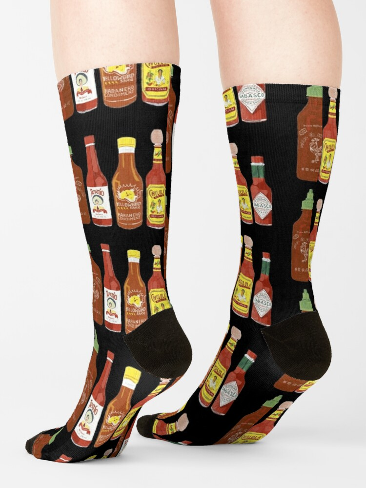 Alternate view of Spicy! Check out these hot sauces on black background Socks