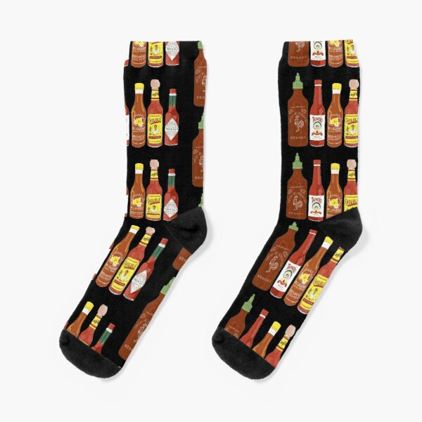 Spicy! Check out these hot sauces on black background Socks