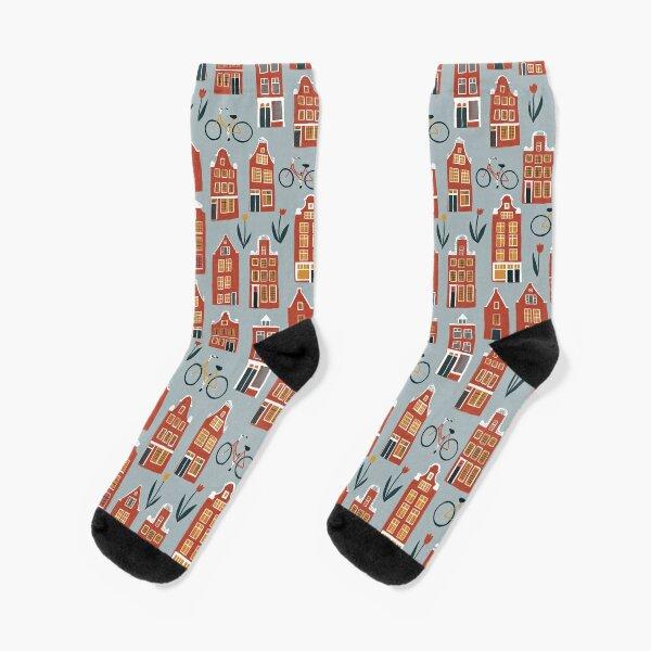 Cute Amsterdam houses pattern Socks