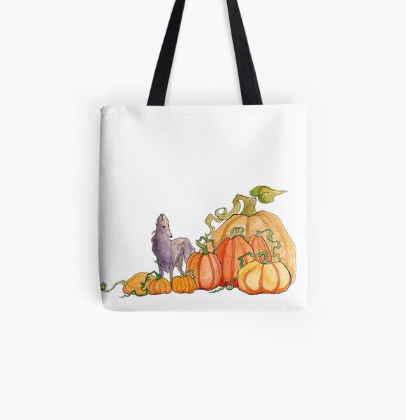 Borzoi and Giant Pumpkins All Over Print Tote Bag