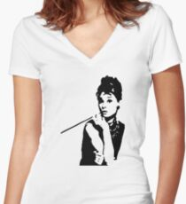 Audrey Hepburn Breakfast At Tiffanys Women's Fitted V-Neck T-Shirt