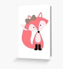 Girly Pink Fox Greeting Card