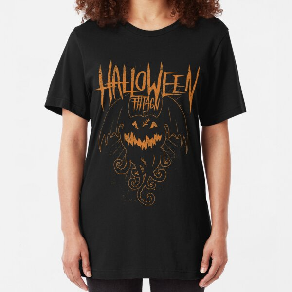 Halloween Fhtagn - Orange Edition -  Eldritch Dreamer - Lovecraftian Cthulhu Mythos Wear Slim Fit T-Shirt