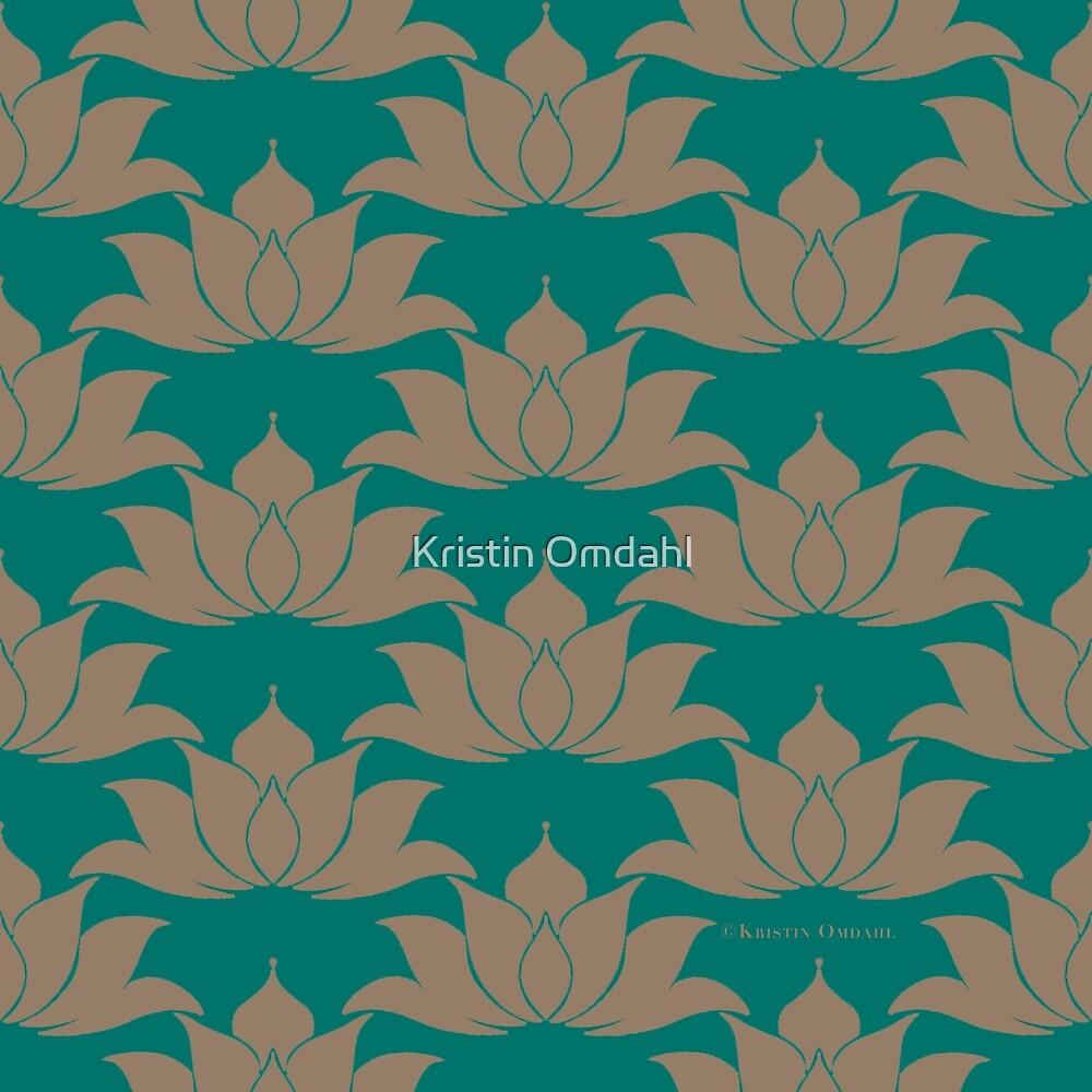 Lucky Lotus Dark Green Cyan by Kristin Omdahl