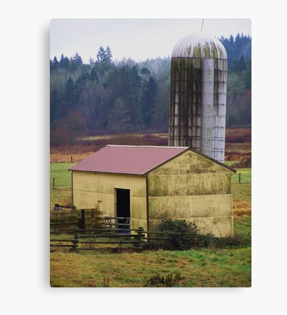 Yellow Barn with Silo Canvas Print