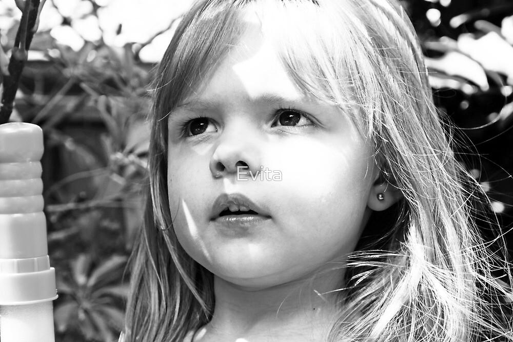 Sun Shining On Little Girl's Face by Evita