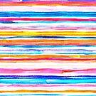 Bright Hand Painted Gouache Beach Chair Stripes by micklyn