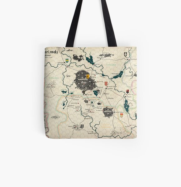The Midderlands Hex Map (Parchment Version) All Over Print Tote Bag