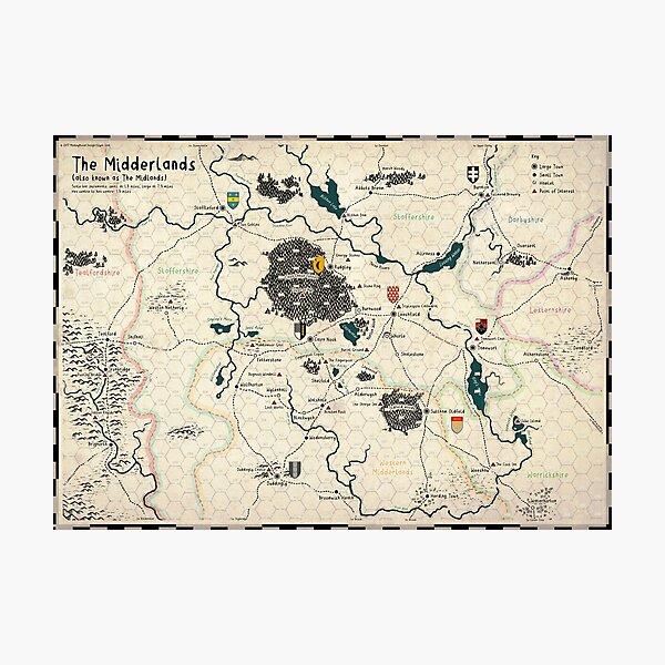 The Midderlands Hex Map (Parchment Version) Photographic Print